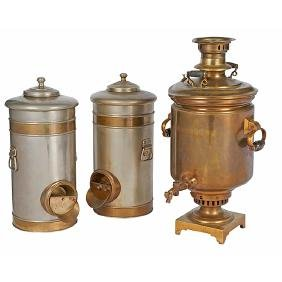 Antique Russian, Samovar, brass and wood, together with