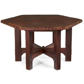 Gustav Stickley, hexagonal table, #625, Eastwood, NY,