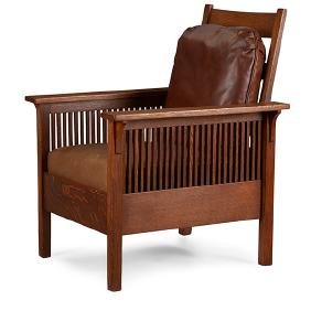 Gustav Stickley, fixed-back spindle armchair, #390,