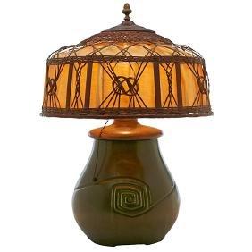 Hampshire Pottery, table lamp, Keene, NH, matte glazed