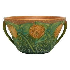 Roseville Pottery Co., Sunflower two-handled bowl,