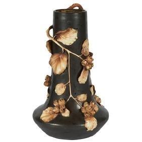 Amphora, Floral vase, #10275, Austria, glazed and