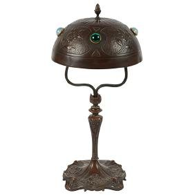 Austrian, table lamp, bronze, colored glass, with