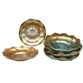 Louis Comfort Tiffany (1848-1933), under plates, set of