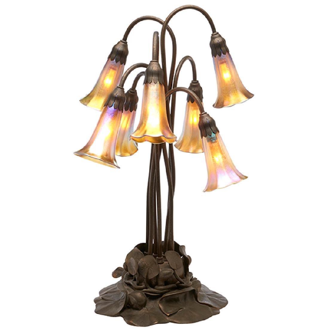 Tiffany Studios, seven-light Lily table lamp, #385, New