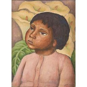 Jesus Ortiz Tajonar, (Mexican, 1919-1990), Child, oil