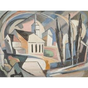 David Syrop, (American, 1895-1975), Cubist Church,