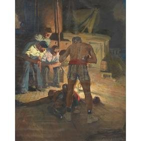Karl Godwin, (1893-1962), Boxers on a Ship, oil on