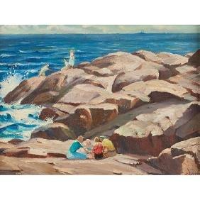 Henry Gasser, (American, 1909-1981), Rocky Shore, oil