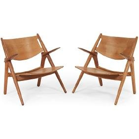 Hans Wegner for Carl Hansen & Son Sawbuck chairs, pair