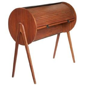 Mid-century Modern, roll-top desk, 1960s-70s, walnut,