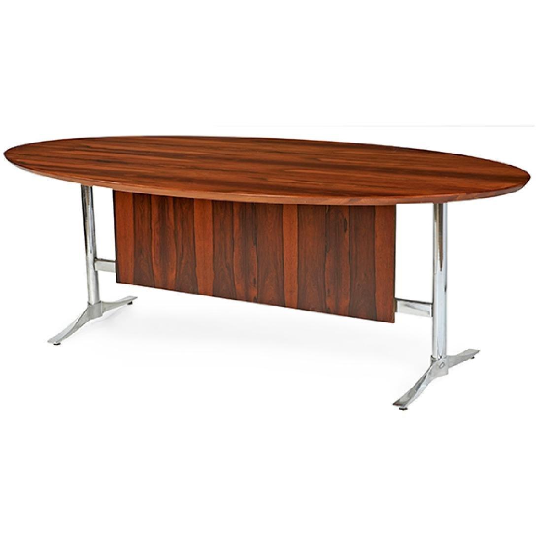 Mid-century Modern, desk, USA, 1960s, rosewood, steel,