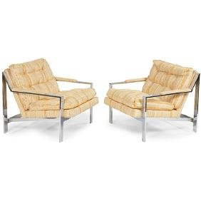 Cy Mann for Cy Mann Designs, Ltd., lounge chairs, pair,