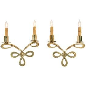 French, sconces, pair, 1940s, brass