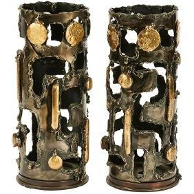 Brutalist, Trench Art candleholders, pair, USA, c.