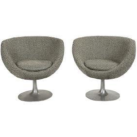 Burris pedestal chairs, pair, USA, 1970s, signed