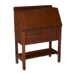 Gustav Stickley, drop-front desk, #731, Eastwood, NY,