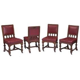 English Arts & Crafts, side chairs, set of four, oak,