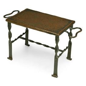 """Arts & Crafts, serving stand, wrought iron, 14""""w x"""