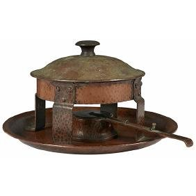 Gustav Stickley, chafing dish with tray, Eastwood, NY,