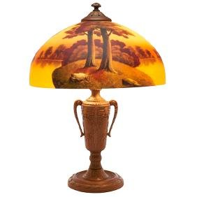 American, Landscape table lamp, painted glass, bronzed