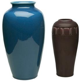 Rookwood Pottery, vases, two: #2316 and #614D,