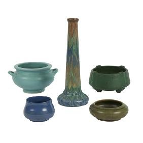 American Pottery, vases, two and three bowls, matte and