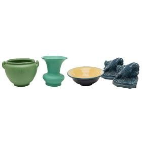 American Arts & Crafts Pottery, jardiniere, vase, bowl