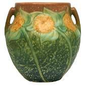 Roseville Pottery Co., Sunflower two-handled vase,