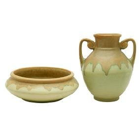 Roseville Pottery Co., vase and bowl, Zanesville, OH,