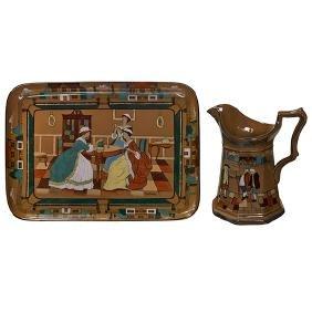Buffalo Pottery, Deldare Ware pitcher and tray,