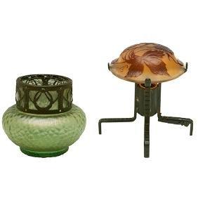 Loetz, vase, Austria, glass, metal, signed, together