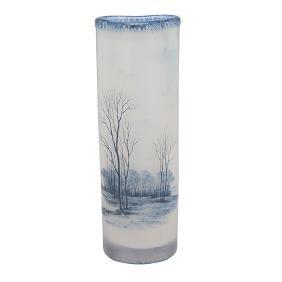 Daum, Paysage d'Hiver vase, Nancy, France, acid etched,