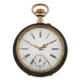 Erotic, Nude Maiden with Birds open face pocket watch,