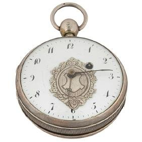 Concealed Erotic, open face pocket watch, silvered