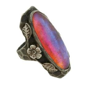 American Arts & Crafts, ring, sterling silver, fire