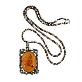 Art Nouveau, pendant necklace, sterling silver, amber,