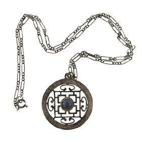 Vintage, pendant necklace, sterling silver, lapis