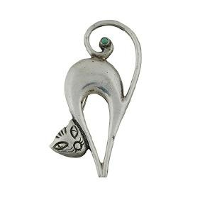 Mexican, Cat brooch, sterling silver, turquoise,