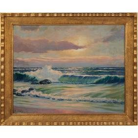 Richard Lorenz, (German/American, 1858-1915), Seascape,