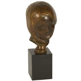 "Italian, bust of a woman, bronze, unsigned, 3""w x 3""d x"