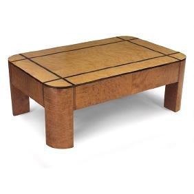 Art Deco, coffee table, 1930s-40s, burled wood veneer,