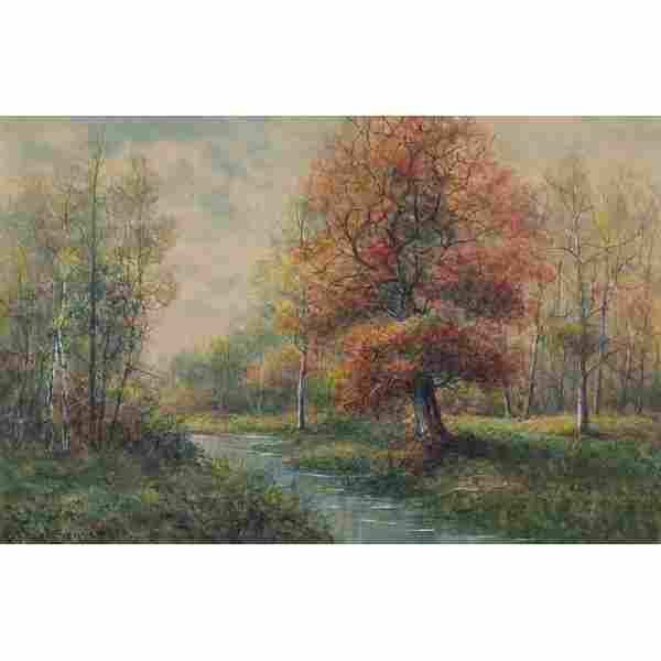 "669: Raphael Senseman, ""Stream in an Autumn Landscape"","