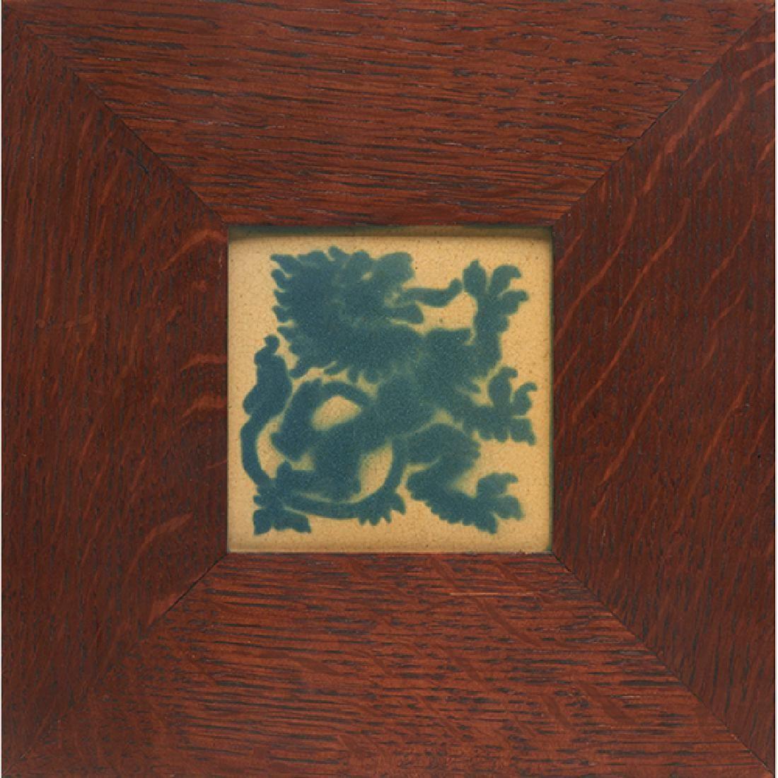 "Marblehead Pottery Rampant Lion tile tile: 4""sq;"