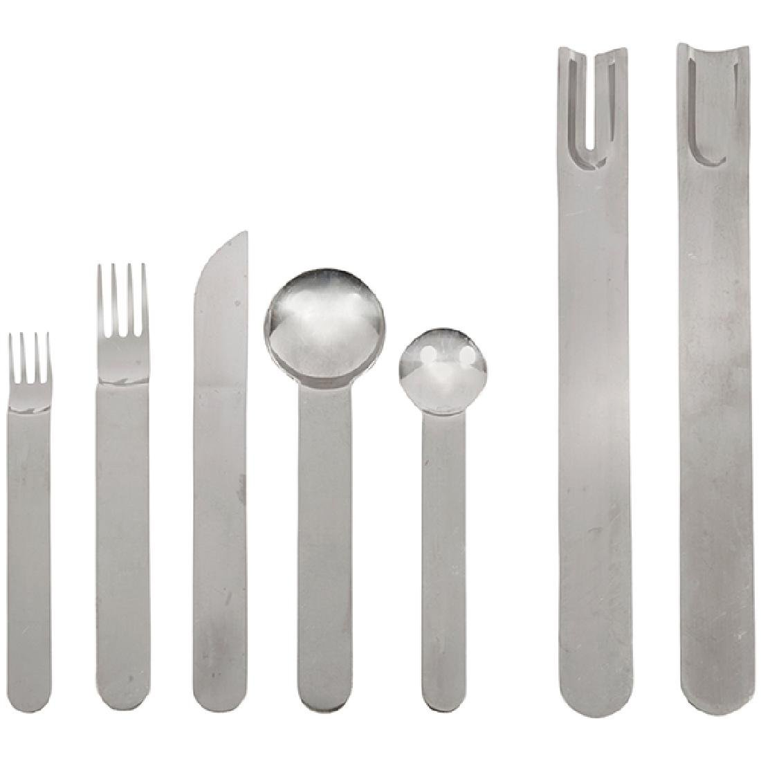 Sergio Asti for ICM Lauffer Boca flatware, 62 Pieces