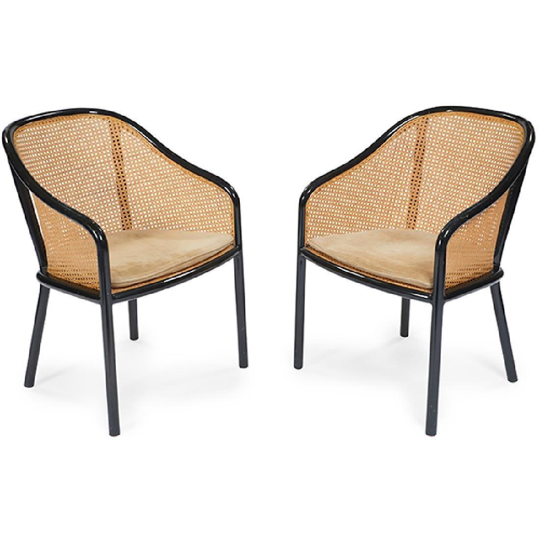 Ward Bennett for Brickel Associates armchairs, pair