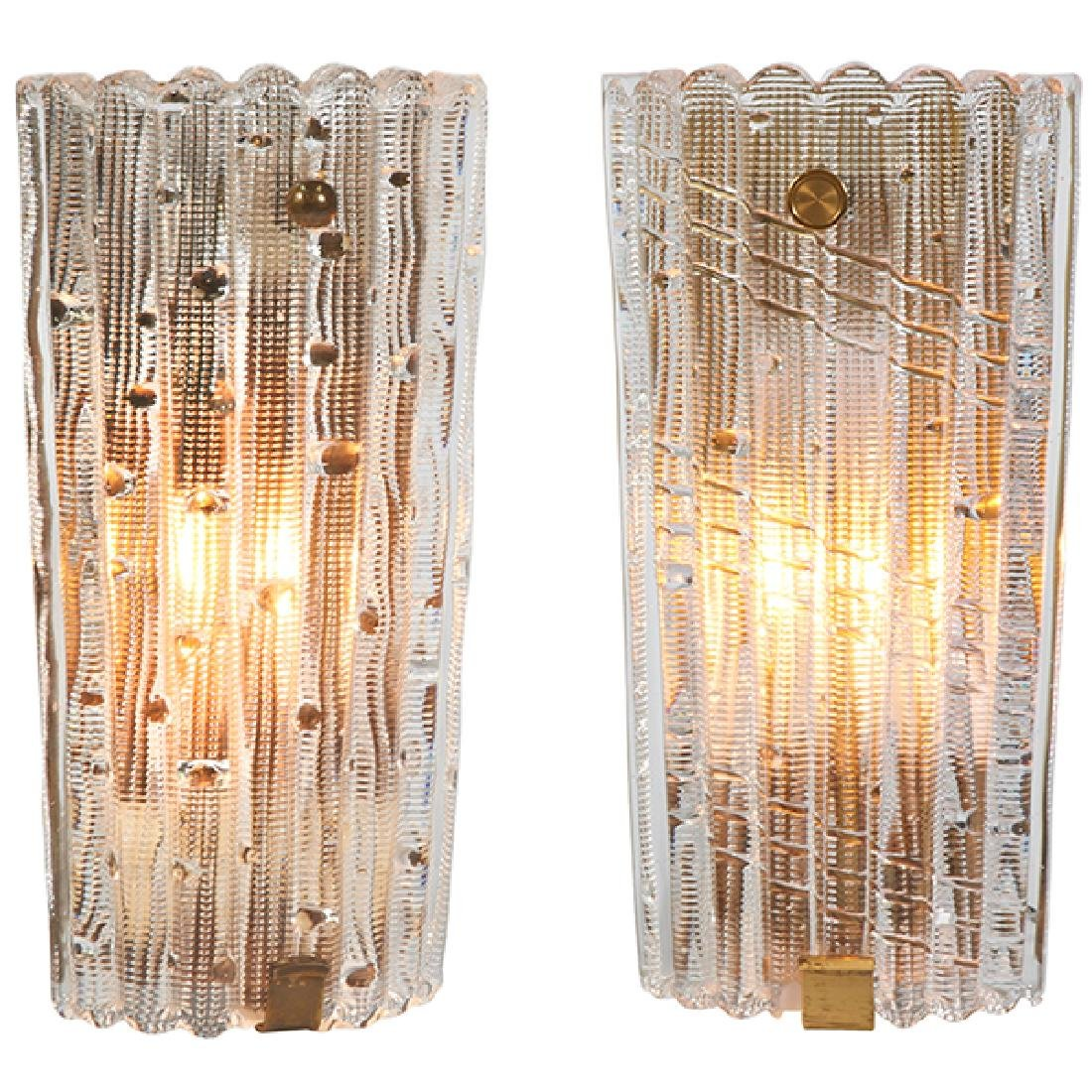 Carl Fagerlund for Orrefors sconces, two Lyfa
