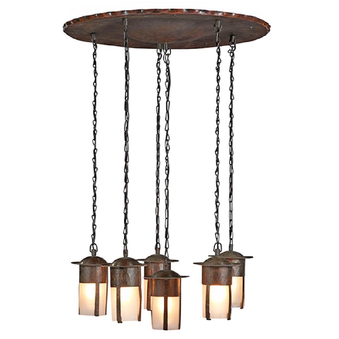 L & JG Stickley six-light hanging light fixture /
