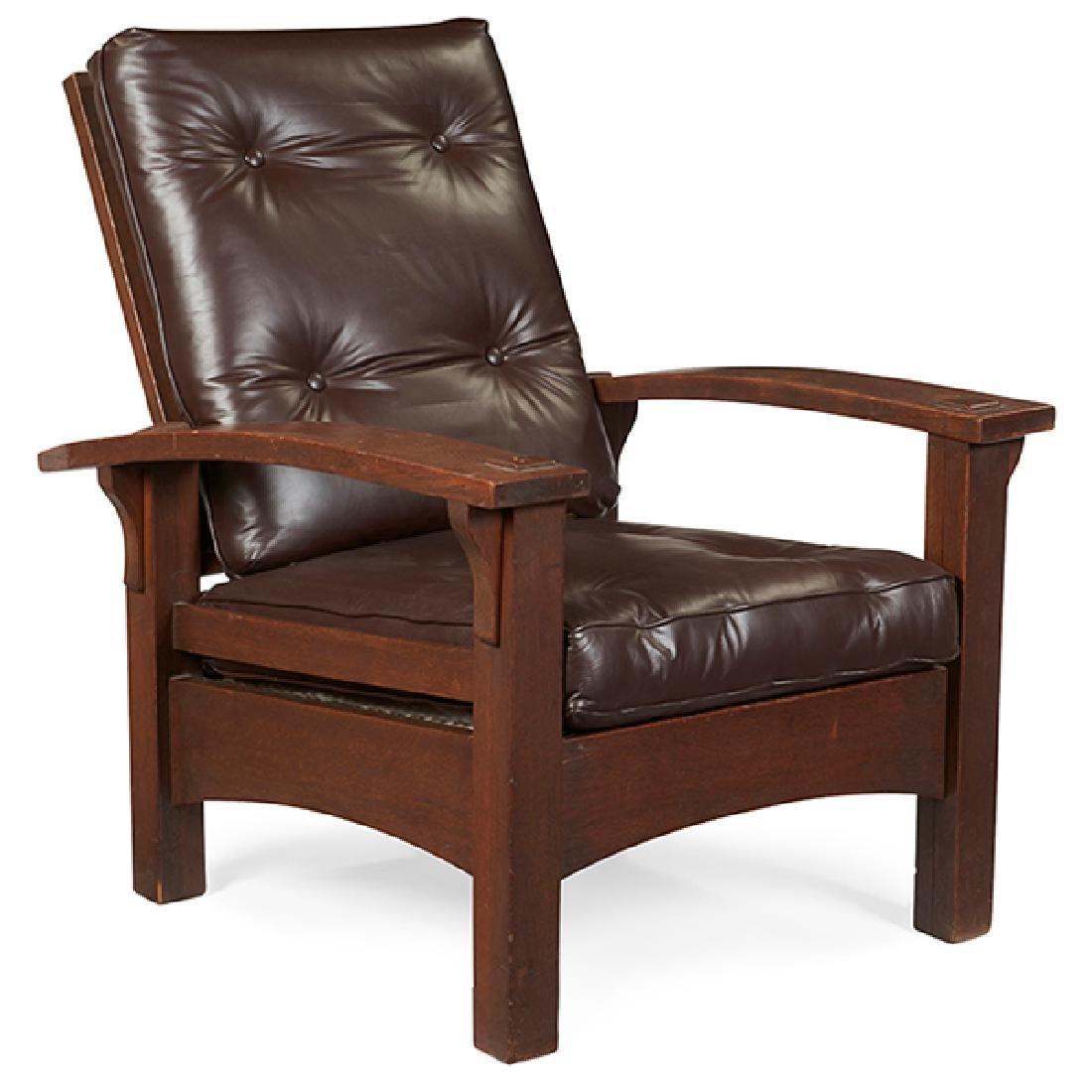 """Gustav Stickley Morris chair, #2340 31""""w x 37""""d x 39""""h - 2"""