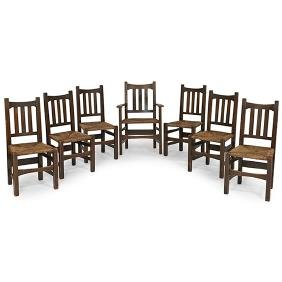 457 SET OF TEN OAK DINING CHAIRS Richardson Brothers